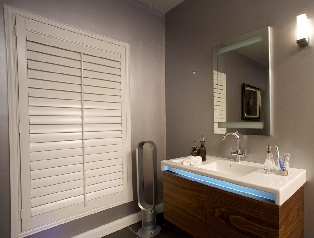 Full Length Shutter Blinds in a Bathroom