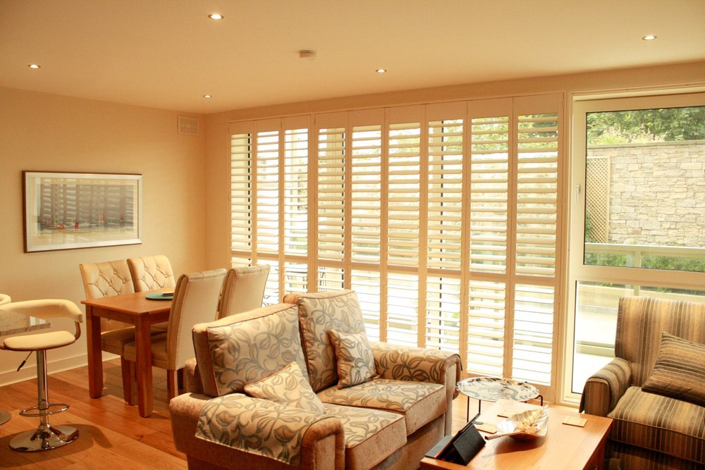 Full Length Interior Shutters over French Doors