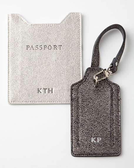 Glitter-Leather Luggage Tag
