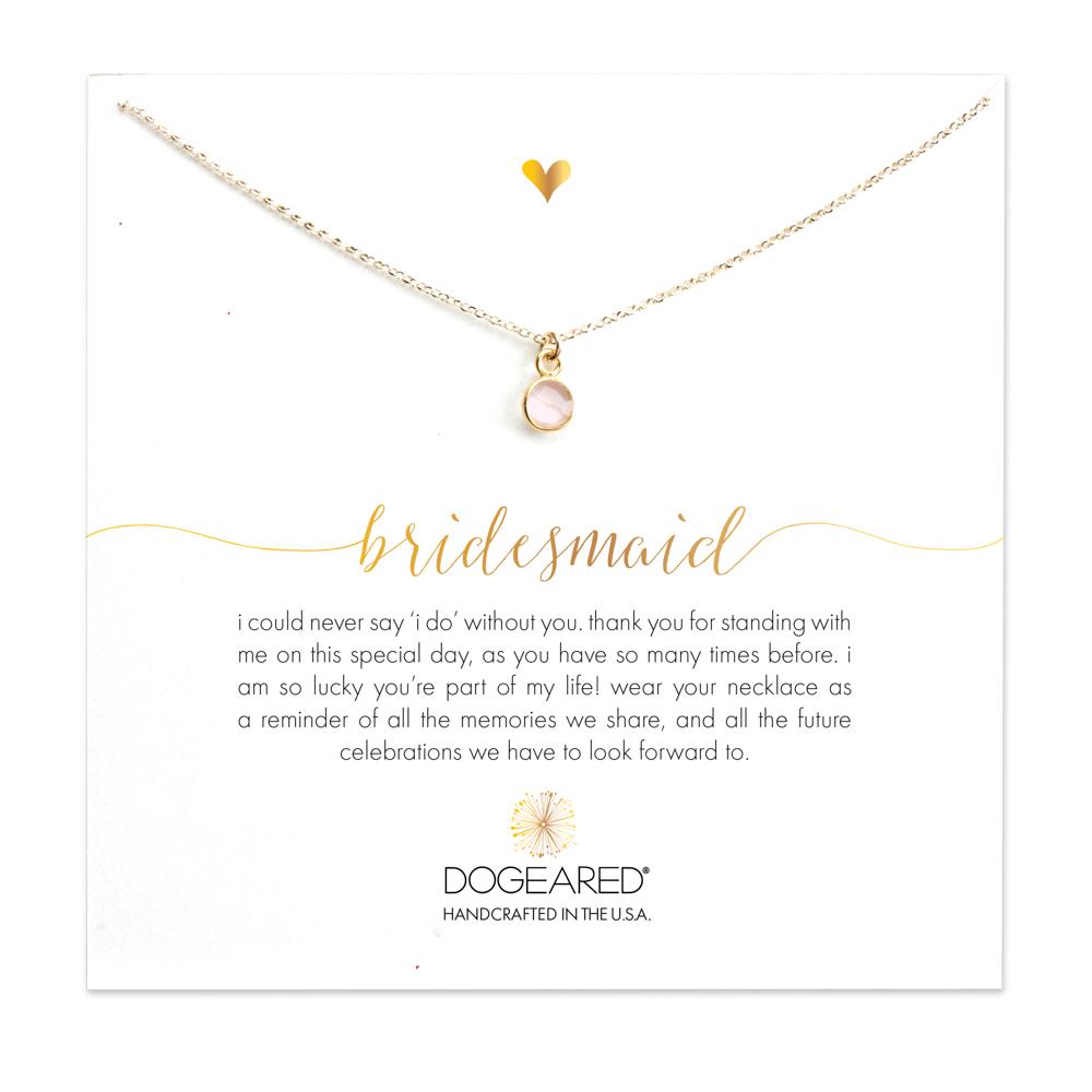 Bridesmaid Round Rose Quartz Necklace, Gold Dipped