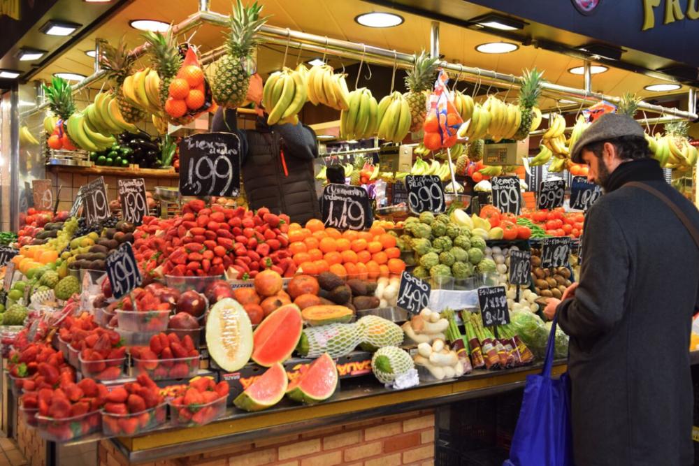 Market in Las Ramblas in Barcelona, Spain.
