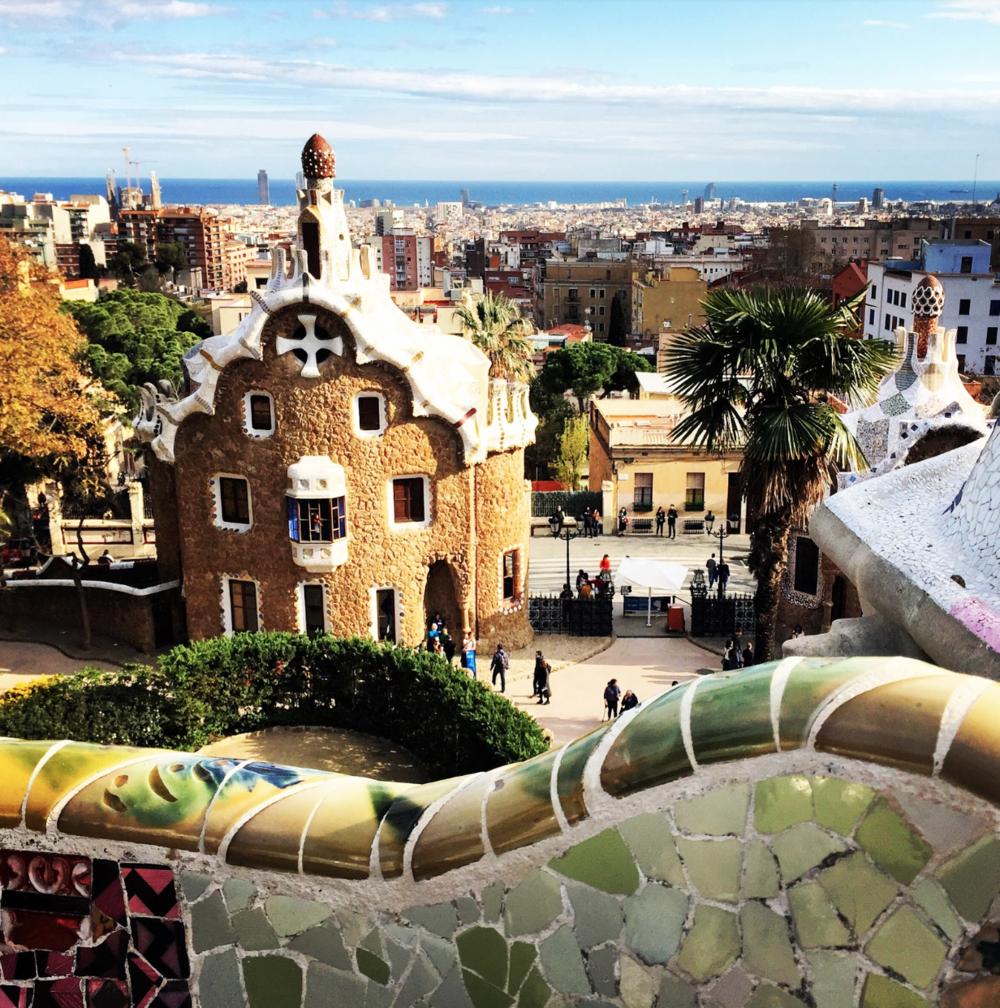 Enjoying Park Guell in Barcelona, Spain.