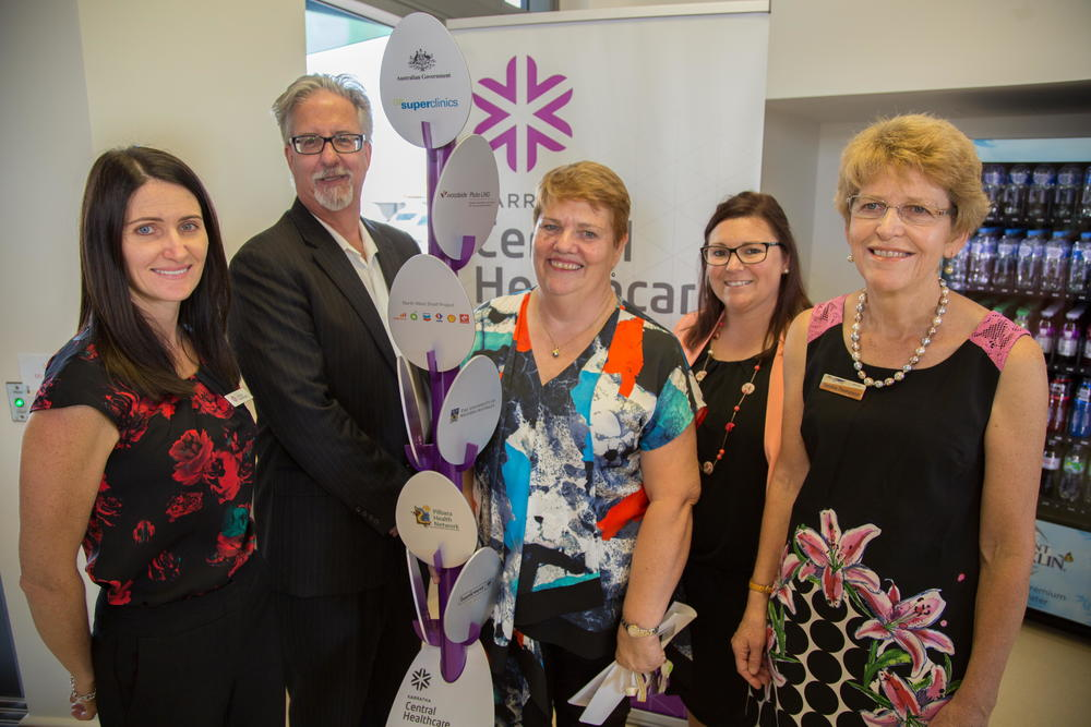(from left to right) Pilbara Health Network (PHN) Chair/Director Narda Schneider, Woodside Chief Operations Officer Mike Utsler, PHN CEO Jocelyne Halpin, Department of Health Assistant Director Amanda Harriott, and WA Centre for Rural Health (WACRH) Director Sandra Thompson.