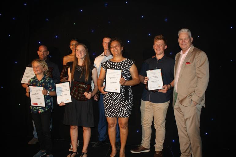 2018 Community Sports Awards recipients (left to right back row): Sporting Group of the Year Karratha Junior Rugby League President Nic Rolle, Sportswoman of the Year Cheyenne Wailu, Sportsman of the Year Cody Scale, (left to right front row): Junior Sportsman of the Year Max Grasso, Junior Sportswoman of the Year Sophie Taylor, Official of the Year Simi Cagilaba, Coach of the Year Gavin O'Brien with guest speaker former Australian cricketer Dean Jones.