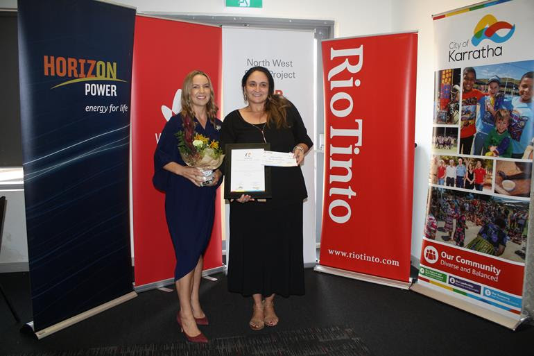 Horizon Power retail and community manager Michelle South with 2019 City of Karratha Citizen of the Year Sandra Spadanuda.