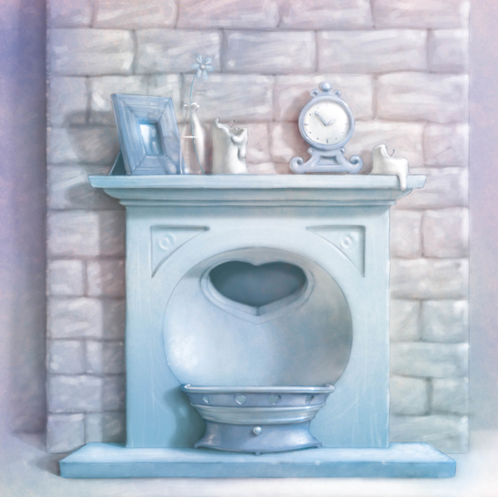 A fireplace illustration featured in the Tatty Teddy 'Heart house' play set