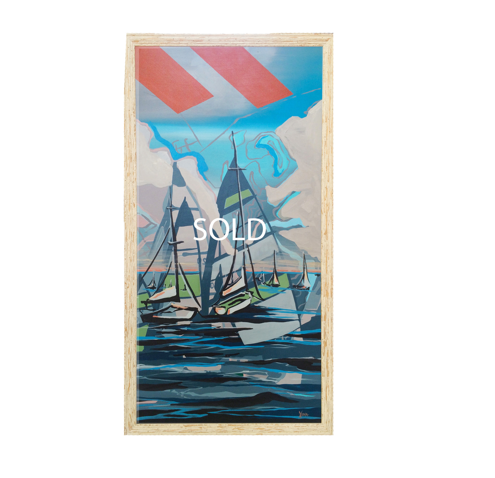 CÉU AZUL CÉU AZUL: meaning blue skies in Portuguese. This is the brightest piece in the collection with layers of clear blue skies and seas for the perfect day out on the water. This day is a sailor's dream. Custom Larson Juhl frame made of 100% distressed wood | 20 x 38