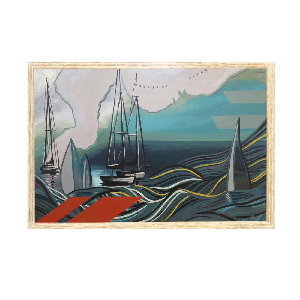 REVERIE This stormy piece has a whimsical twist. A set of sailboats wait on flat seas, while in their daydreams, their boats are in full sail on high seas. Custom Larson Juhl frame made of 100% distressed wood | 38 X 26