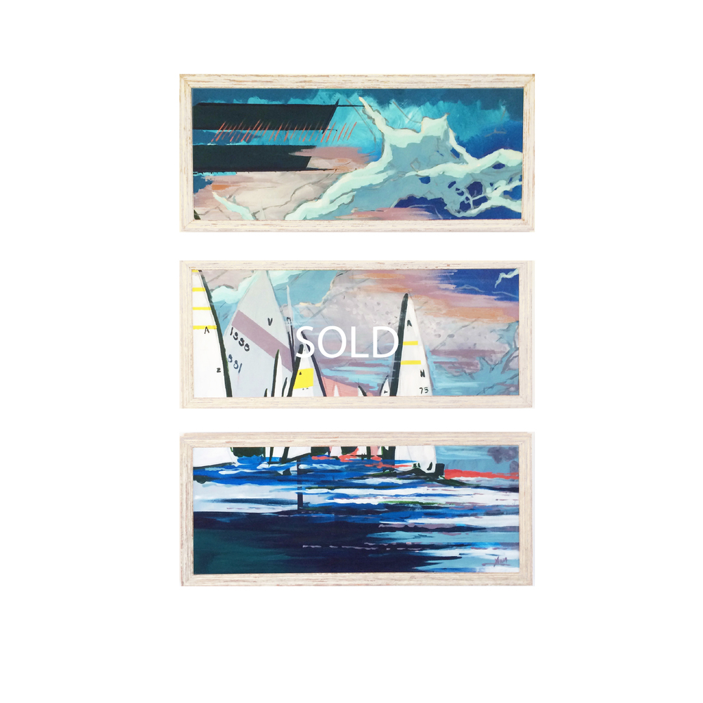 TEMPEST This triptych piece features both nautical and topographic maps of the Navesink layered onto its winding coastline. In the foreground, a regatta begins on vibrant seas as a storm awaits on the horizon. Custom Larson Juhl frame made of 100% distressed wood | 3 frames 14 x 32 | Hangs at 14 x 45