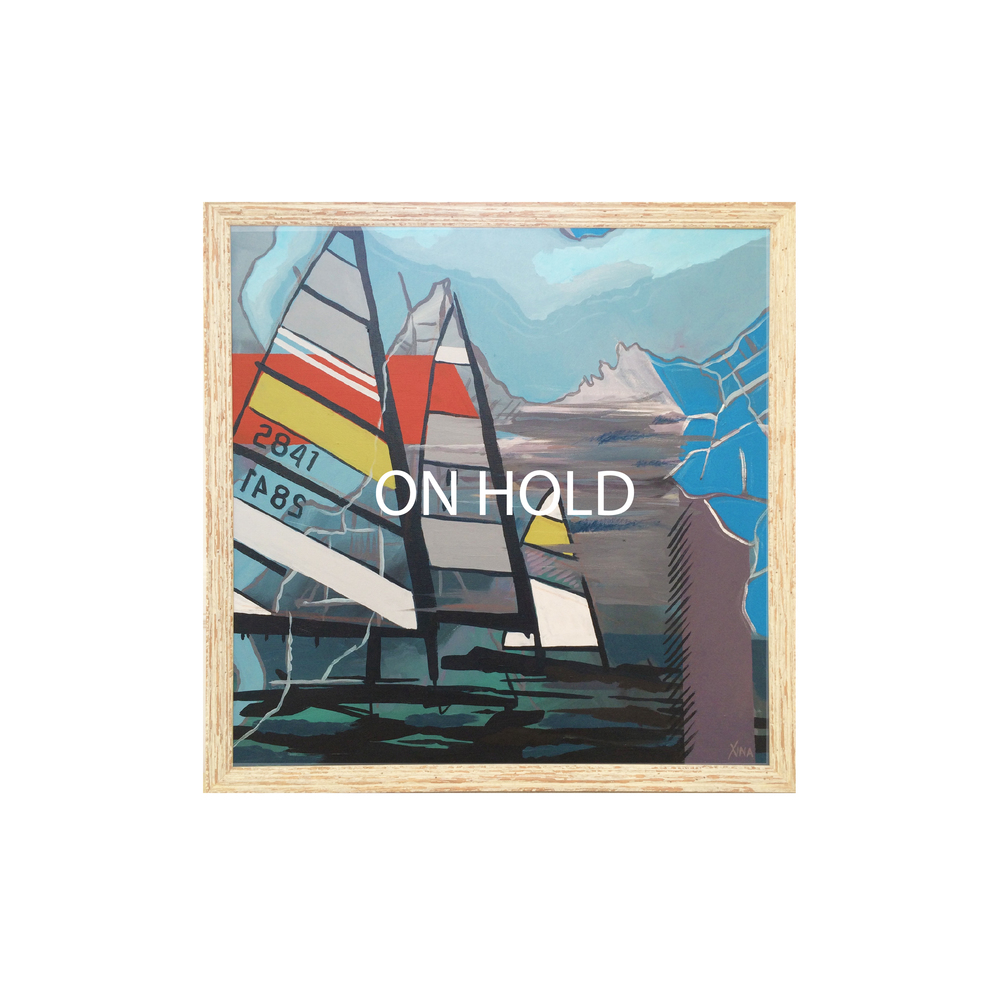 COMMENCE This is the only winter piece in the collection. Ice boats meet over layers of maps and charts to begin their race. The skies are grey and the river has frozen over in this scene of rich colors. Custom Larson Juhl frame made of 100% distressed wood | 26 x 26