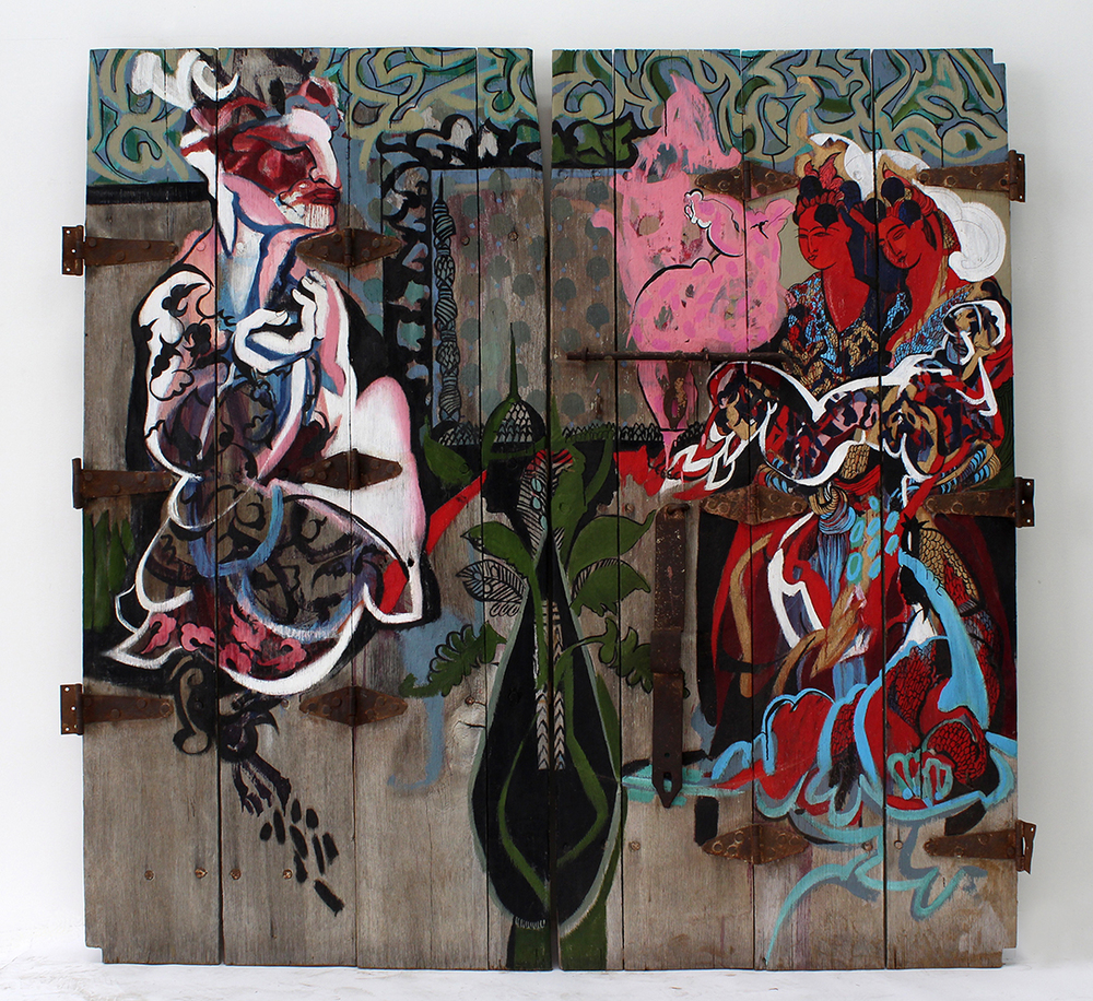 Godfather   Oil on Ras Al Khaimah Door  200 x 193.5 cm