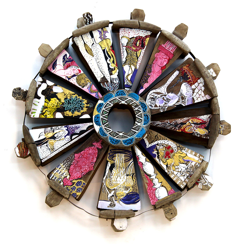 The Wheel of Life   Oil on Reclaimed Water Wheel  100 x 100 x 30 cm