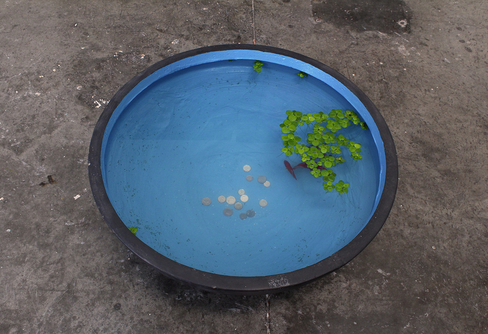"""Goldfish Celebration"" (performance)  Ceramic bowl, exterior paint, goldfish, water plants and coins"