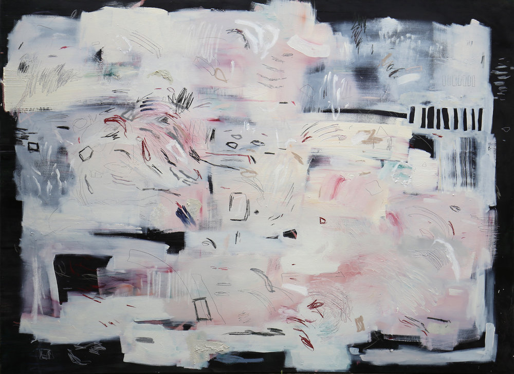 Shifting Grounds (i) 2017 Rain, Oil Paint, Soft Pastel, Graphite, Wax Crayon and Oil Bar on Canvas 230 x 170 cm