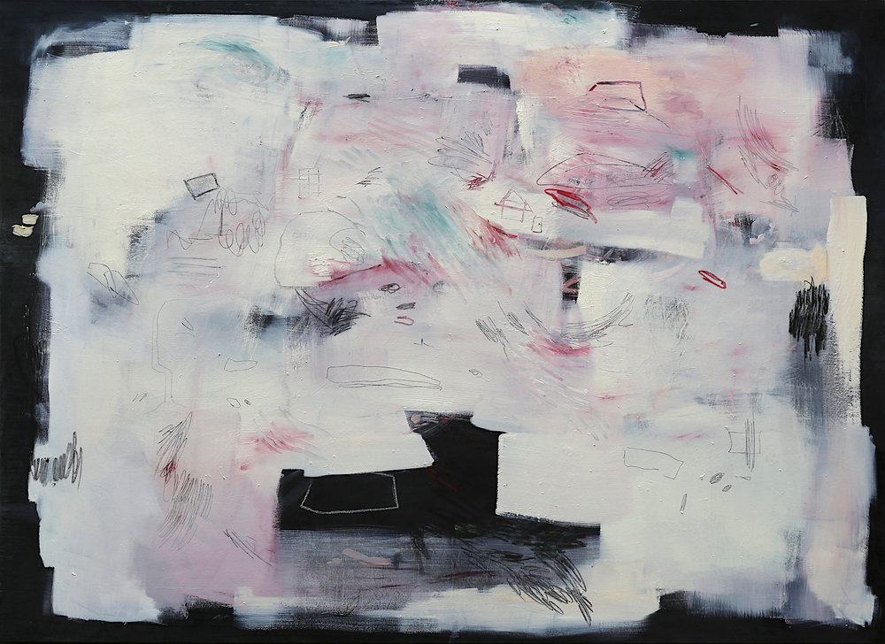 Shifting Grounds (ii) 2017 Rain, Oil Paint, Soft Pastel, Graphite, Wax Crayon and Oil Bar on Canvas 230 x 170 cm