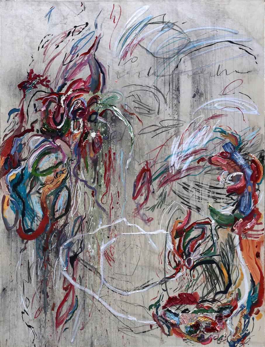 Spatial Grammar (i) 2017 Rain, Oil Paint, Graphite Pencil, Charcoal and Soft Pastel on Canvas 170 × 130 cm