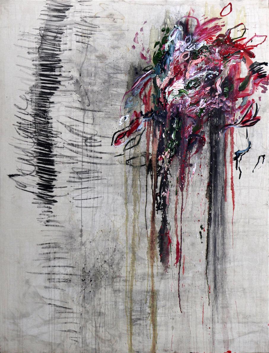 Spatial Grammar (ii) 2017 Rain, Oil Paint, Graphite Pencil, Charcoal and Soft Pastel on Canvas 170 × 130 cm
