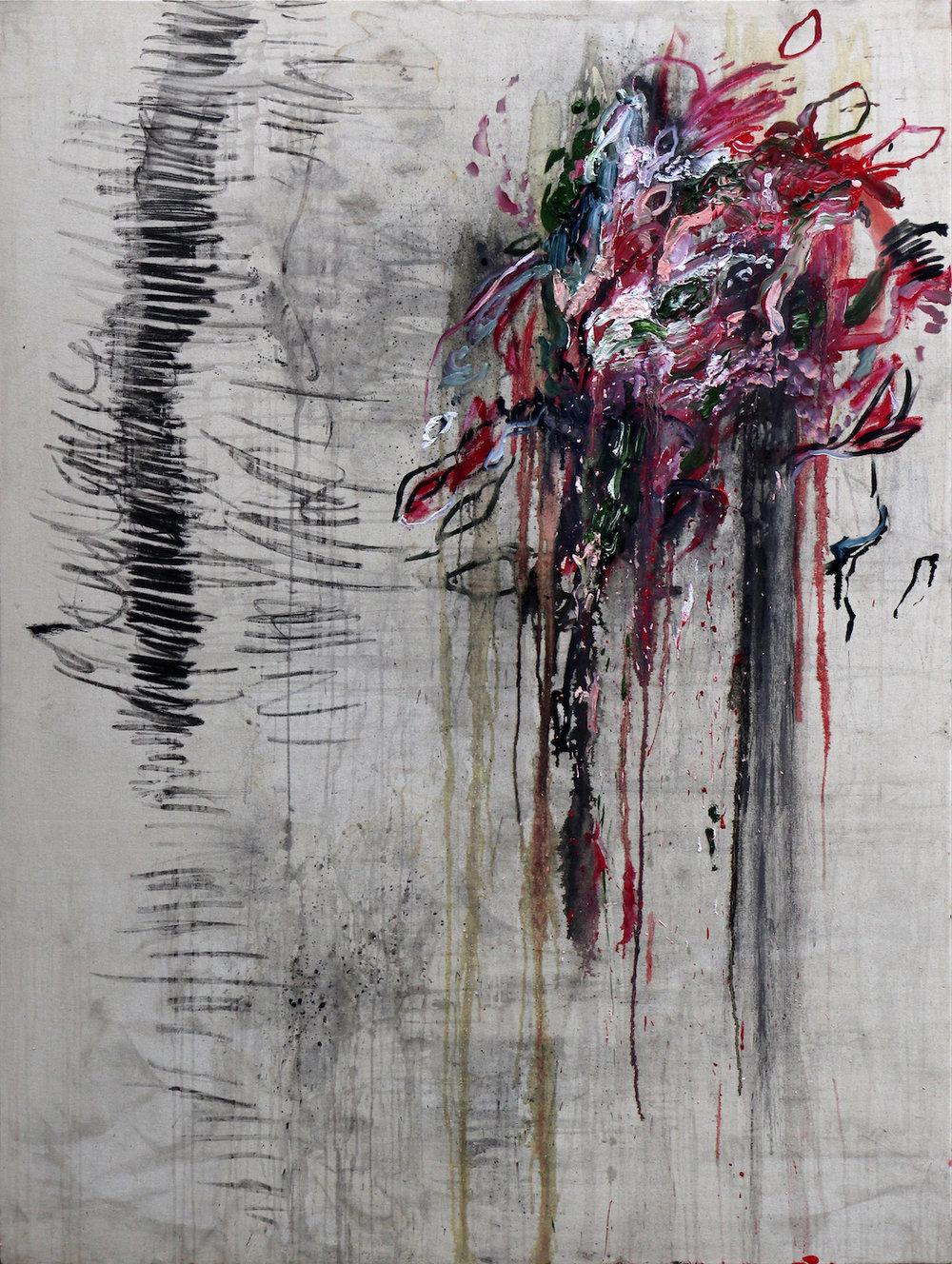 """Spatial Grammar"" (ii) 2017 Rain and Oil on Canvas 170 x 130 cm"