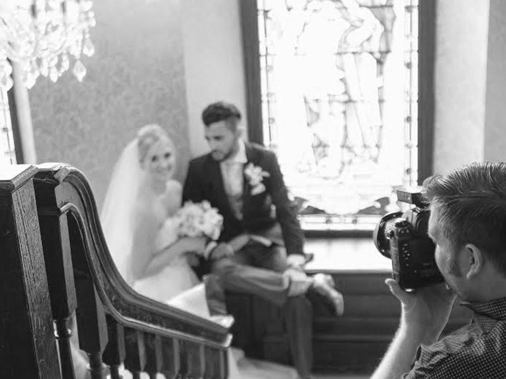 Pete from Charnwood Weddings behind the camera at Rothley Court Hotel.