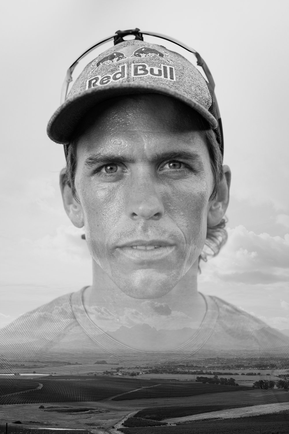Ryan Sandes poses for a portrait at Meerendal in Cape Town, South Africa, on February 27, 2019.Editor's note: double exposure.