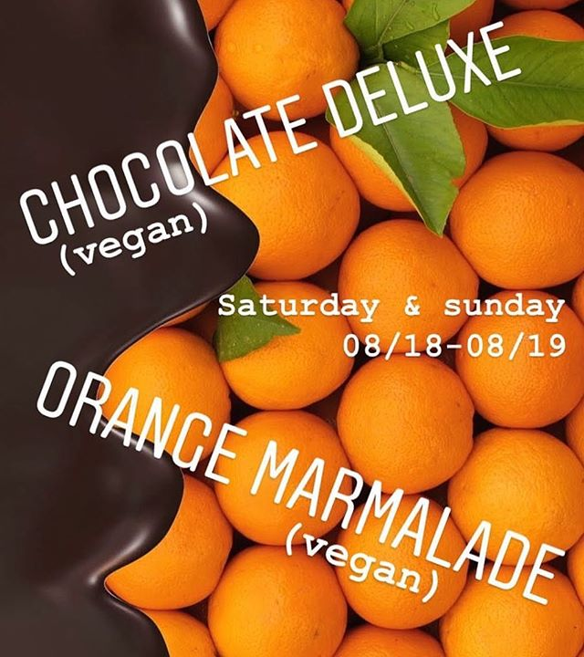 We will have Chocolate Deluxe (vegan) and Orange Marmalade (vegan) twist allllll weekend! You can even get them untwisted if ya like 😋 ✨🍦🍊🍫🍦✨