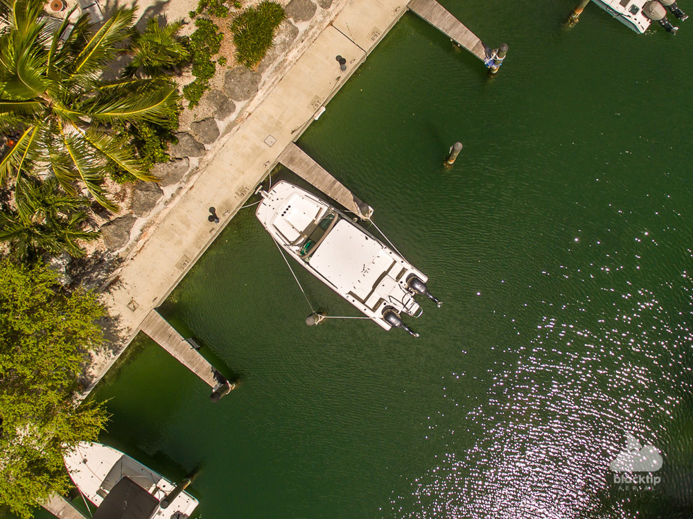 Florida Keys boat slip aerial drone photo and video