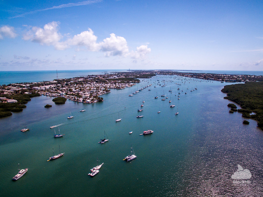 Marathon Florida Keys marina harbor drone photography