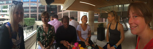 A panoramic view of Sunday's social. Had the prosecco taken hold by now?