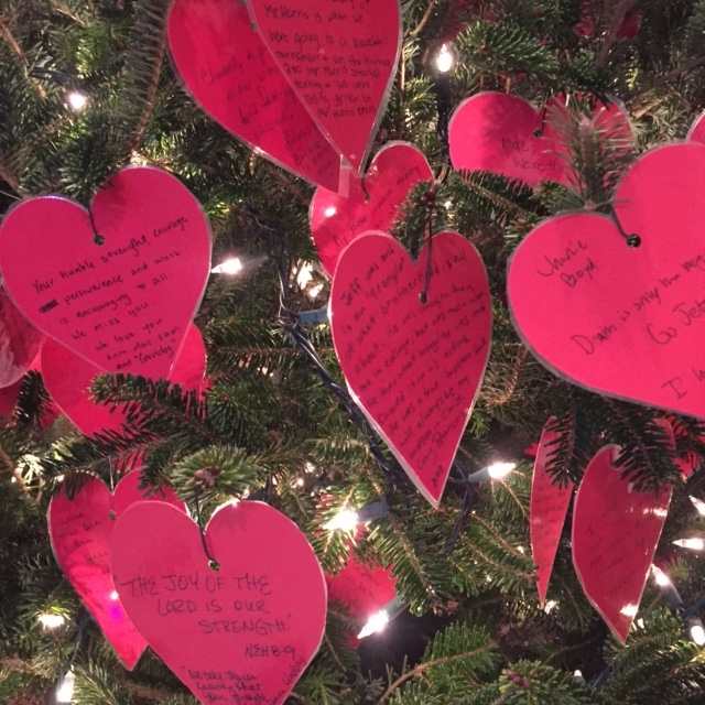 The hearts on our tree this year.