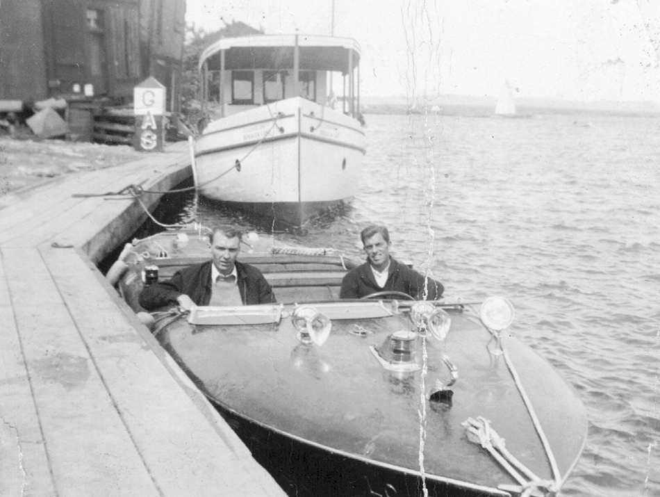 Danny (right) in his speedboat (Photo:  Manitoulin Expositor )