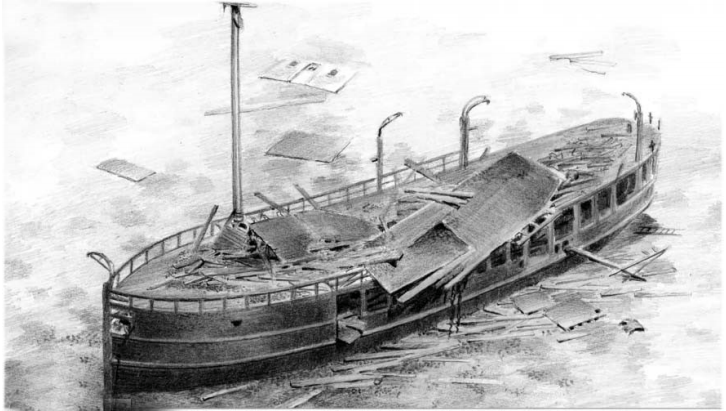 Drawing of sunken Jane Miller, done by  Bob McGreevy
