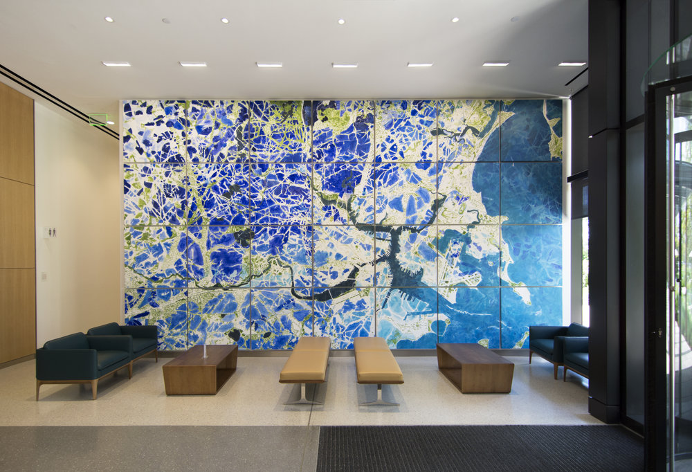 East lobby: Partners Network | Acrylic on canvas, 28 panels