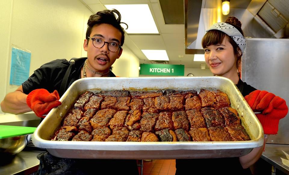 Kale and Aubrey with their Korean Ribs