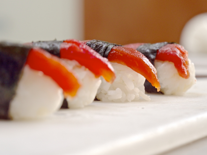 Slices of Tomato Sushi