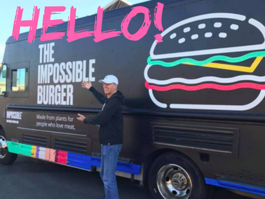 Impossible Foods CEO Pat Brown in front of new truck