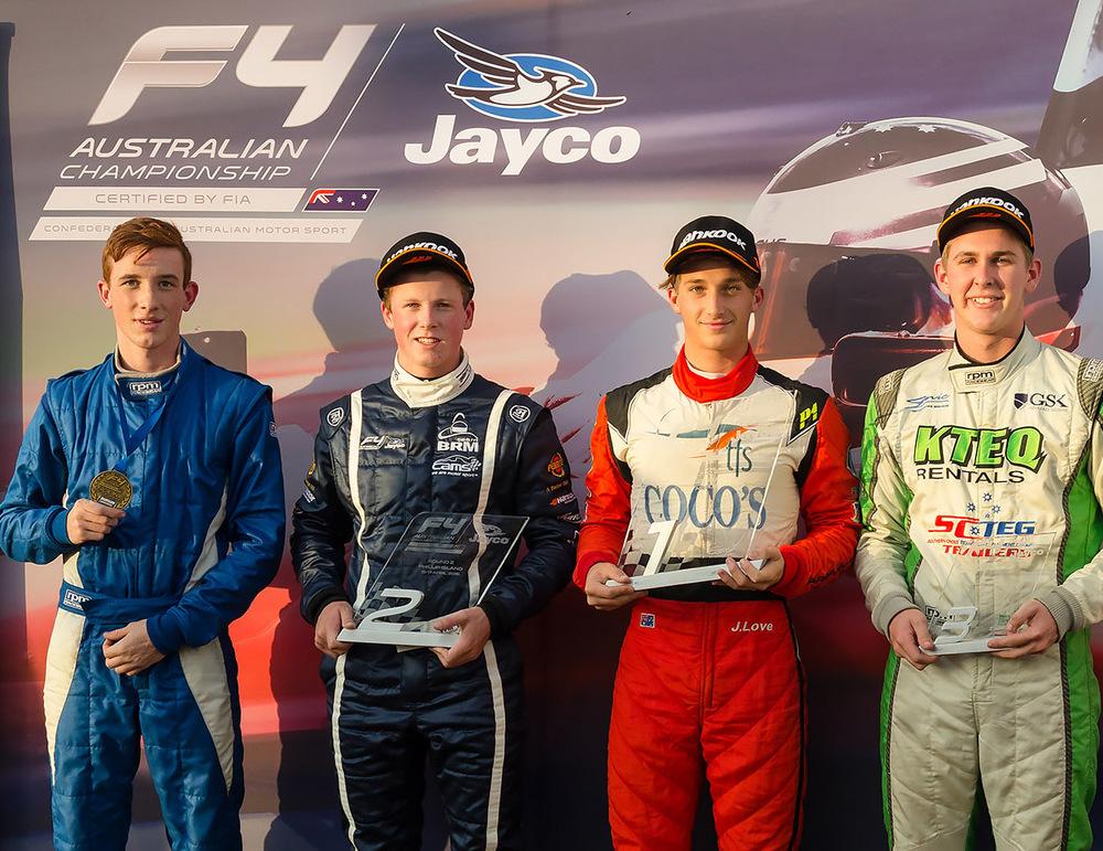 2016 CAMS Jayco Australian Formula 4 Championship Round 2 podium placings at Phillip Island