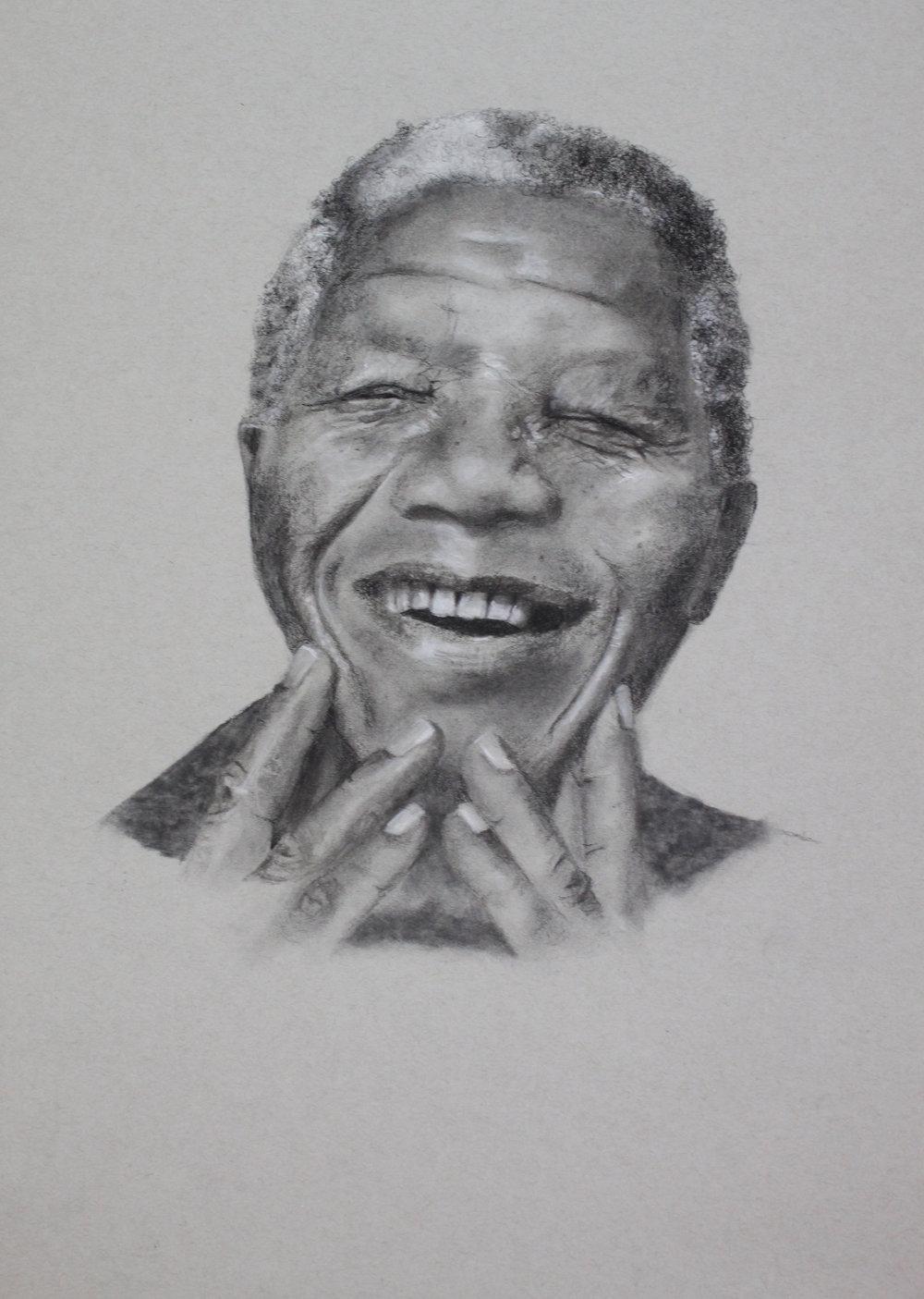 Mandela, charcoal on paper, 24 x 20