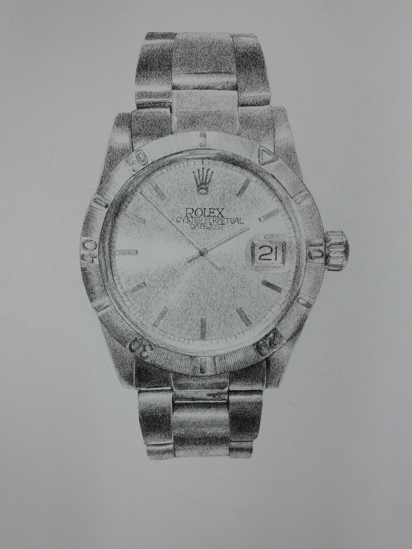 Rolex, pen on paper, 24x20