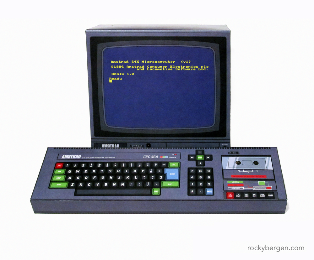 This paper craft model of the Amstrad CPC is as close I am likely to get to the UK classic 8-bit computer. Even though it is not a computer I had exposure to as a kid, YouTube has provided me with many hours of entertainment with this system. Here's looking at you,  Novabug !
