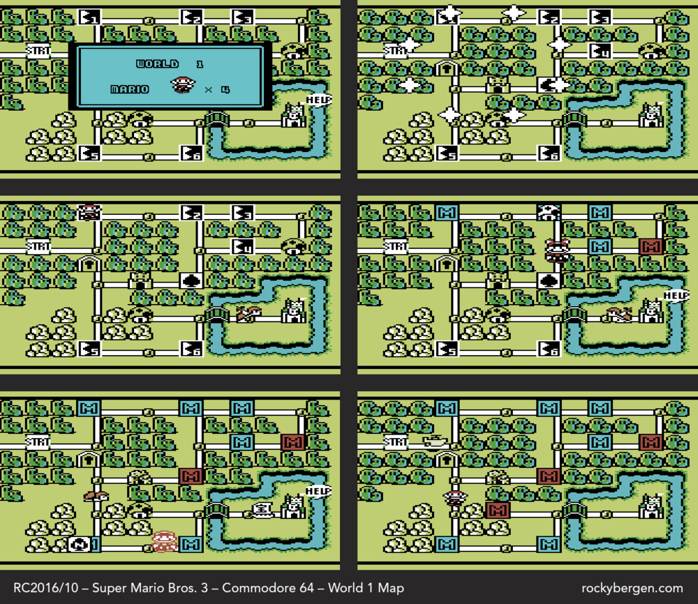 World 1 Map - Mario at various stages of progress