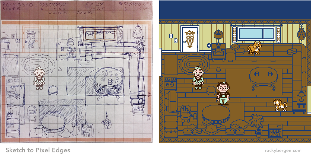 I went to Faux's trailer to take photos and graph out (on paper), the game's assets.