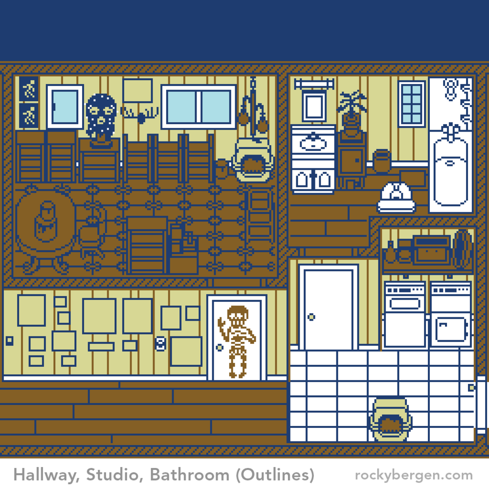 The outlines for these rooms were a challenge. A utility closet was initially included in the design but in order to best resolve the most interesting items across all the rooms it was removed. And yes, Faux really has a goofy skeleton hanging on her studio door.