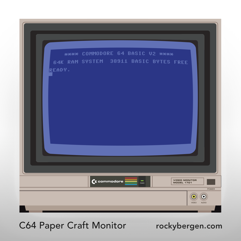 Inspired by the recent release of the C64 Mini, I created a paper craft mini monitor to display alongside the new system.