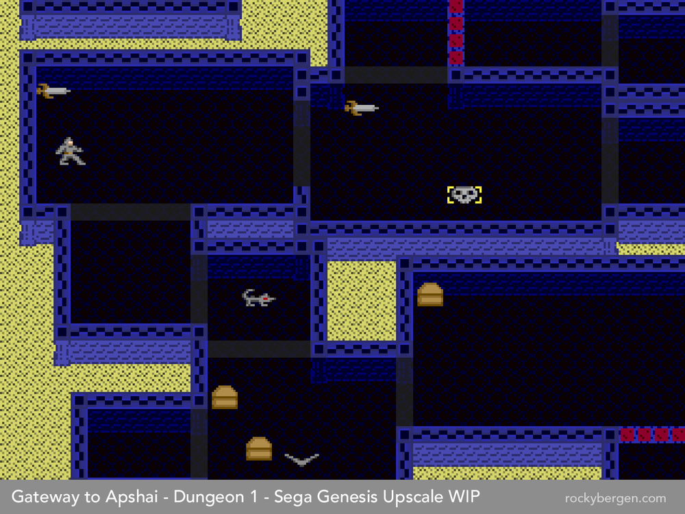 What would a Genesis/Megadrive port of Gateway to Apshai look like? Here's my first attempt.