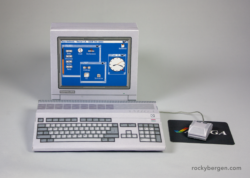 The Amiga 500 papercraft comes complete with Workbench 1.0.