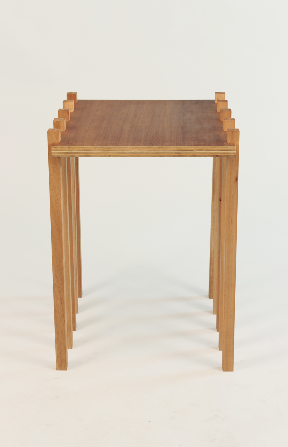 Tiramisu Table  Cedar, Plywood, Redwood Veneer