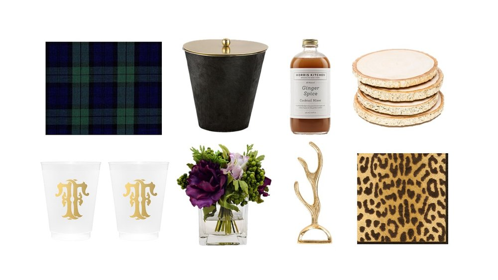 1. Kaufmann Plaid in Hunter 2. Arteriors Etta Ice Bucket 3. Ginger Spice Mixer from Morris Kitchen 4. Times Two Design Gilt Wood Coasters 5. Custom Monogrammed Frosted Cups from Emily McCarthy Shoppe 6. Faux Floral by The French Bee 7. Zestt Antler Bottle Opener           8. Zanzibar Napkins by Caspari