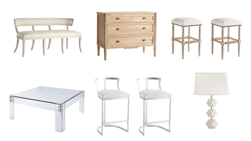1. Grecian Klismos Bench 2. French Cottage Chest 3. Barley Twist Bar Stool 4.Disappearing Coffee Table 5. Emerson Counter Stools 6. White Marble Lamp