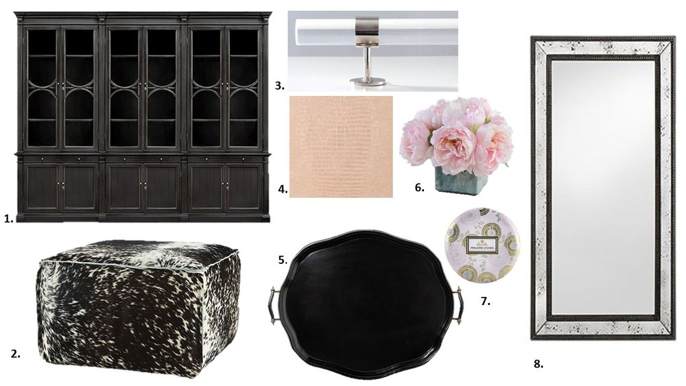 1. Arhaus Athens Modular Triple Display Cabinet 2. Arhaus Prairie Leather Ottoman in Brindle   3. Lucite and Chrome Closet Bar by Lux Hold Ups 4. Kissimmee Wallpaper by Thibaut            5. Arhaus Darthmore Tray 6. Poenies by One Kings Lane 7. Voluspa Panjore Lychee Candle         8. Arhaus Serano Antique Frame Mirror