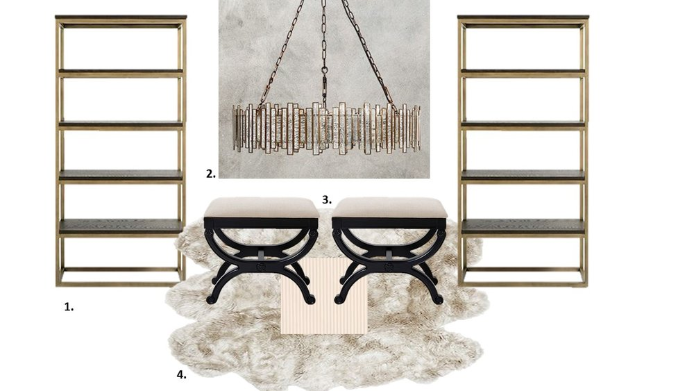 1.  Arhaus Palmer Bookcase  2.  Arhaus Laila Chandelier  3. Arhaus Pierce Upholstered Bench  with  Schumacher Newport Stripe Fabric  4.  Arhaus Sheepskin Wool Rug in Linen